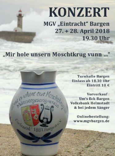 Moschtkrug-Konzerte des MGV Eintracht Bargen am 27. & 28.04.2018 Kartenvorverkauf hat begonnen