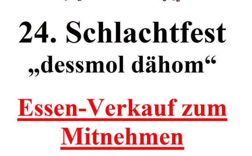 """24. Schlachtfest des MGV Bargen """"dessmol dähom"""" – Essenverkauf am 25. und 27.09.2020"""