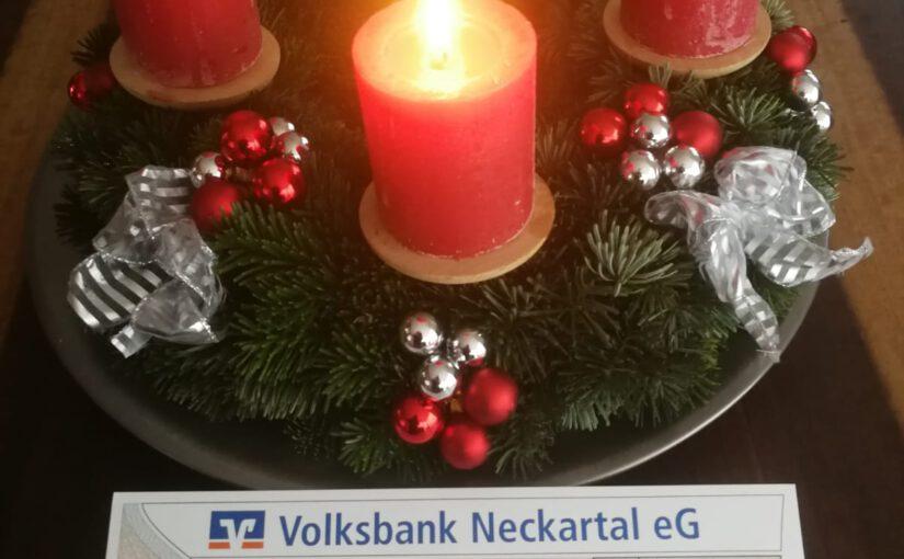 Überraschung in der Vorweihnachtszeit – Volksbank Neckartal unterstützt MGV Bargen